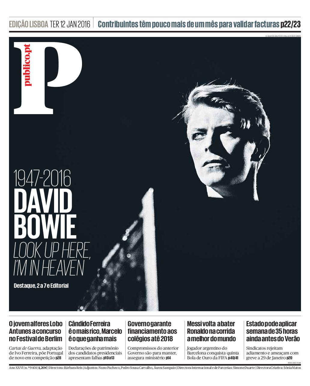 David Bowie na capa do PÚBLICO