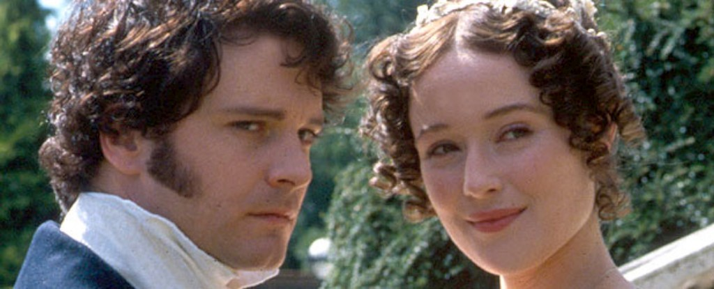 Colin Firth no papel de Darcy e Jennifer Ehle no de Elizabeth